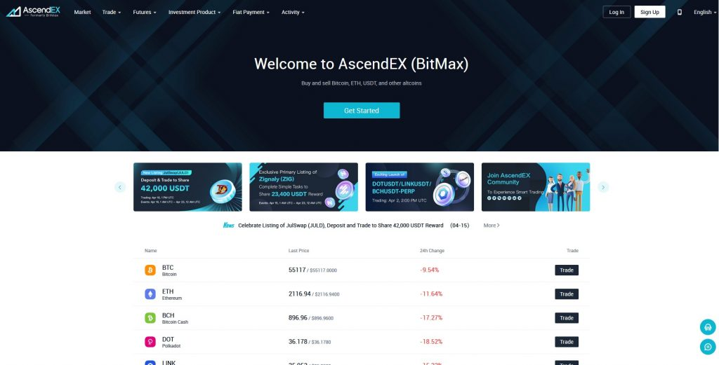 Altcoin Exchange Bitmax
